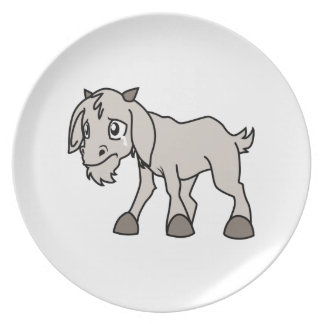 Crying Grey Young Goat Kid Animal Rights Day Dinner Plates