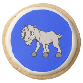 Crying Grey Young Goat Kid Animal Rights Day Round Shortbread Cookie