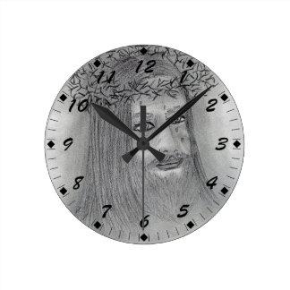 Crying Jesus Round Clock