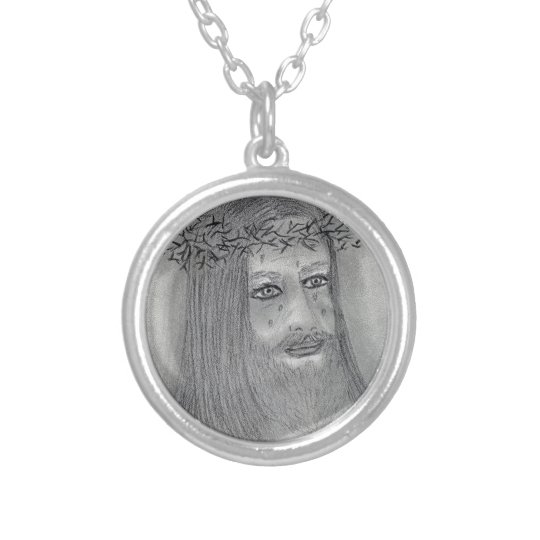 Crying Jesus Silver Plated Necklace