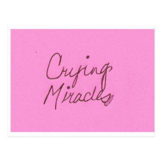 crying miracles cursive postcard