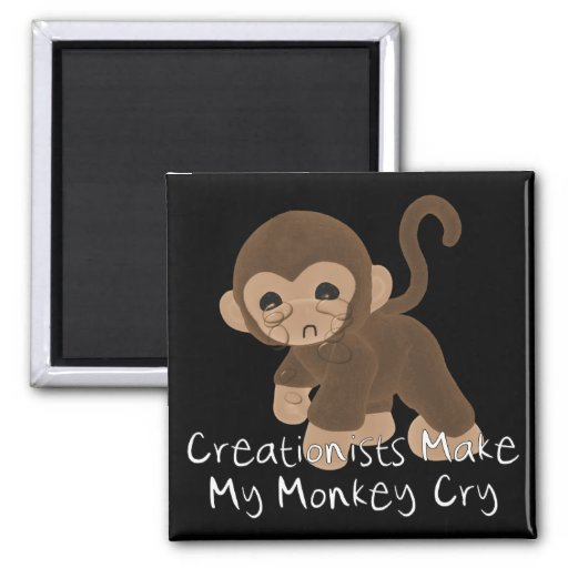 Crying Monkey 2 Inch Square Magnet
