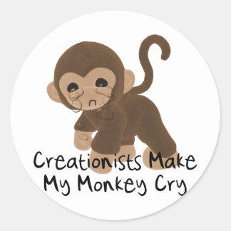 Crying Monkey Classic Round Sticker