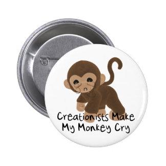 Crying Monkey Pinback Button