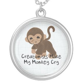 Crying Monkey Round Pendant Necklace
