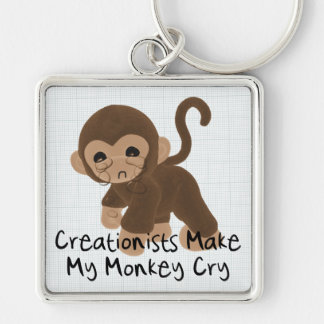 Crying Monkey Silver-Colored Square Keychain