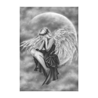 Crying Moon Angel Canvas Print