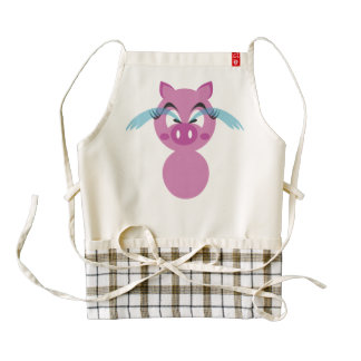 Crying pig cartoon zazzle HEART apron
