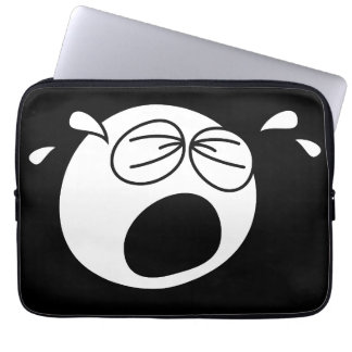 Crying Sad Round Black and White Face Laptop Computer Sleeves