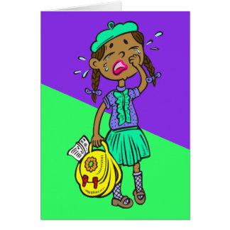 Crying School Girl Card