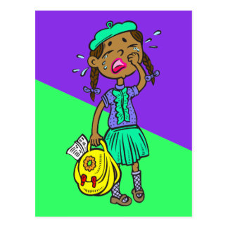 Crying School Girl Postcard