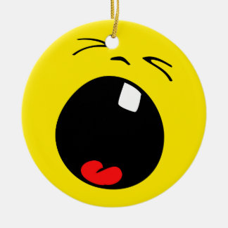 Crying Screaming Baby Yellow Smiley Face Ceramic Ornament