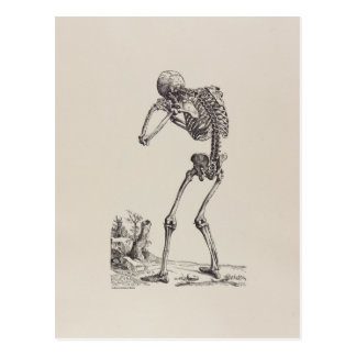 Crying Skeleton Postcard