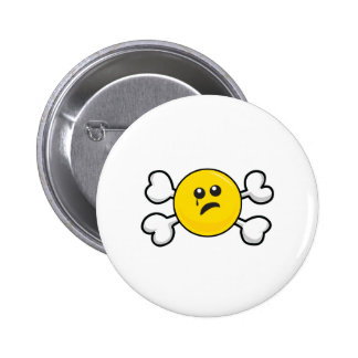 crying smiley Skull and Crossbones Button