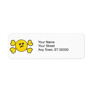 crying smiley Skull yellow Crossbones Label