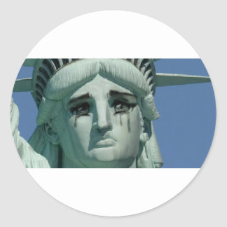 Crying Statue of Liberty Classic Round Sticker
