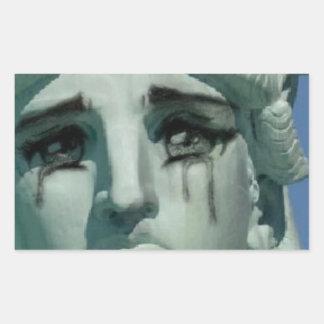 Crying Statue of Liberty Rectangular Sticker