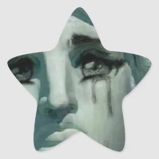 Crying Statue of Liberty Star Sticker