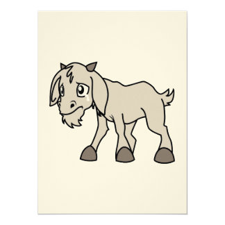 """Crying Weeping Grey Young Goat Kid Animal Rights D 5.5"""" X 7.5"""" Invitation Card"""
