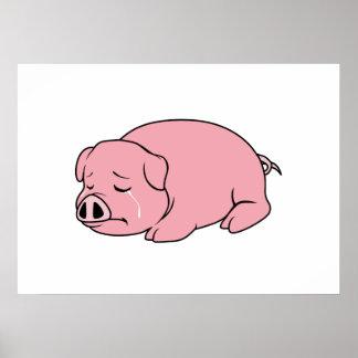 Crying Weeping Pink Pig Piglet Card Mug Pillow Pin Print