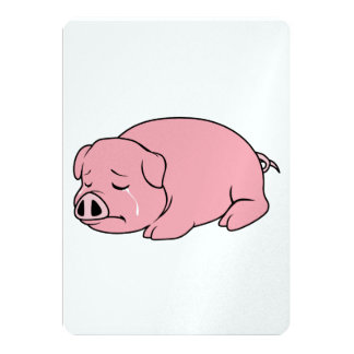 Crying Weeping Pink Piglet Card Label Stamps