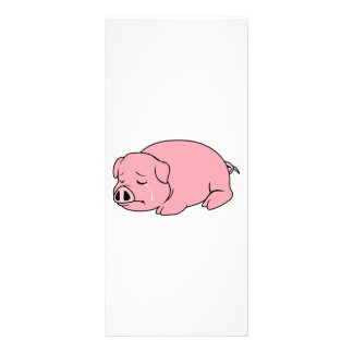 Crying Weeping Pink Piglet Card Label Stamps Custom Rack Card