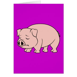Crying Weeping Pink Piglet National Pig Day Greeting Card