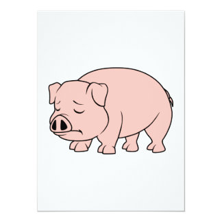 """Crying Weeping Pink Piglet National Pig Day 5.5"""" X 7.5"""" Invitation Card"""