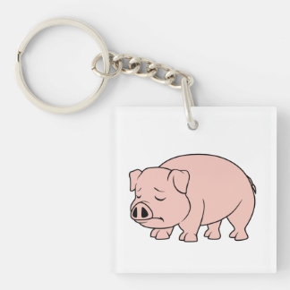 Crying Weeping Pink Piglet National Pig Day Mugs Square Acrylic Key Chain