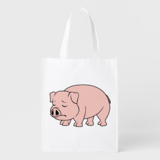 Crying Weeping Pink Piglet National Pig Day Mugs Reusable Grocery Bag