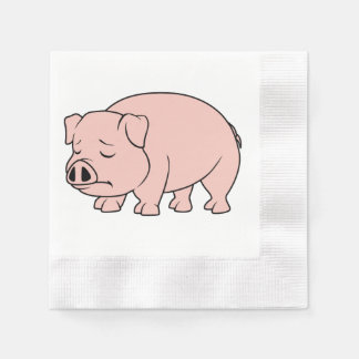 Crying Weeping Pink Piglet National Pig Day Paper Napkins