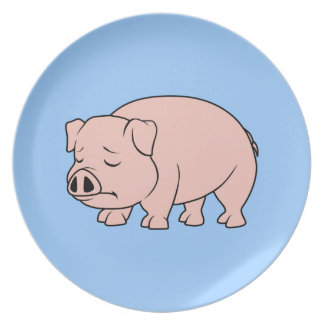 Crying Weeping Pink Piglet National Pig Day Plates