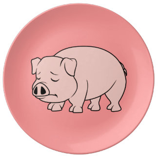 Crying Weeping Pink Piglet National Pig Day Plates Porcelain Plates