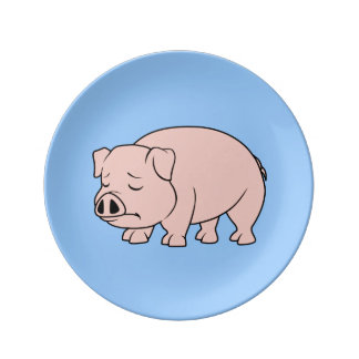 Crying Weeping Pink Piglet National Pig Day Plates Porcelain Plate