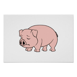 Crying Weeping Pink Piglet National Pig Day Print