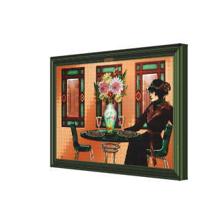 Crying Woman in 1920's Café Canvas Print