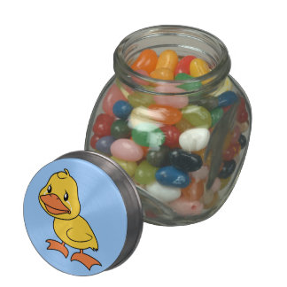 Crying Yellow Duckling Lame Duck Day Candy Jar Tin Glass Candy Jar
