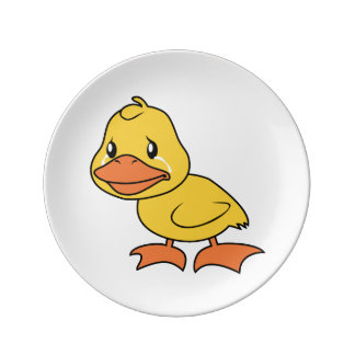 Crying Yellow Duckling Lame Duck Day Porcelain Plates