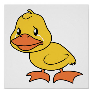 Crying Yellow Duckling Lame Duck Day Poster