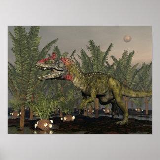 Cryolophosaurus dinosaur - 3D render Poster