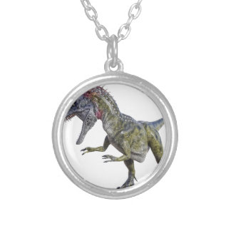 Cryolophosaurus Looking Down to the Right Round Pendant Necklace