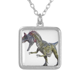 Cryolophosaurus Looking Down to the Right Square Pendant Necklace