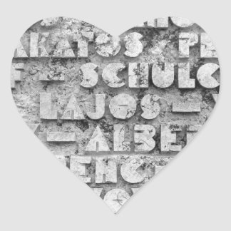Cryptic Stone Font Heart Sticker