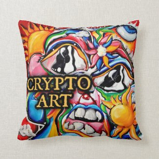 Crypto Art Throw Pillow