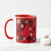 Crypto currency money red pattern mug
