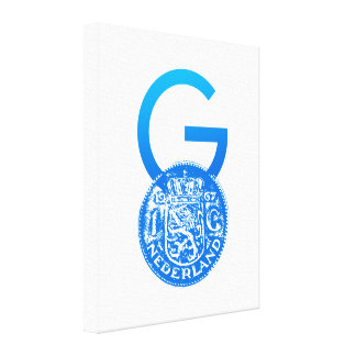 Crypto Gulden symbol with One Guilder coin (blue) Canvas Print