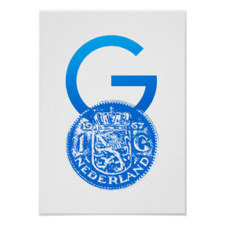 Crypto Gulden symbol with One Guilder coin Poster