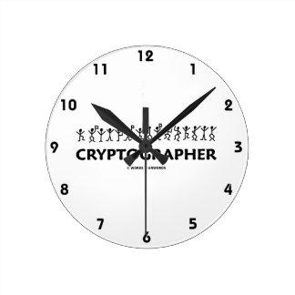 Cryptographer (Dancing Men Stick Figures) Round Wallclock