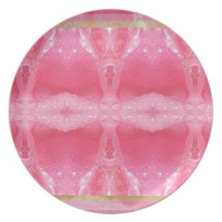 Crystal Art Morning Dew on Rose Petal Dinner Plate