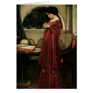 Crystal Ball by Waterhouse, Vintage Victorian Art Card